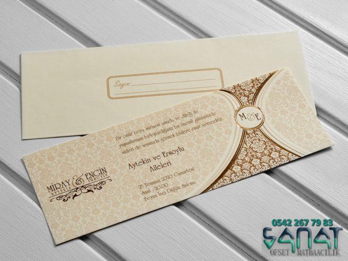 altın yaldızlı kabartmalı tekli zarif davetiye Düğün davetiyesi örneği Klasik düğün davetiyesi